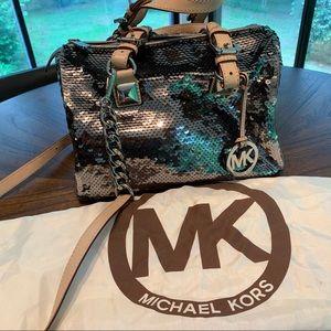 Michael Kors Silver Greyson satchel